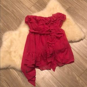 A'gaci pink ruffle strapless top